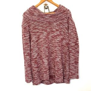 Merona red and white cowl neck sweater
